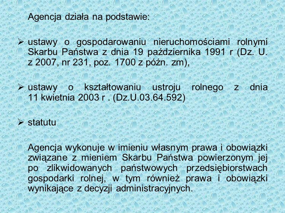 Agencja działa na podstawie:  ustawy o gospodarowaniu nieruchomościami rolnymi Skarbu Państwa z dnia 19 października 1991 r (Dz.