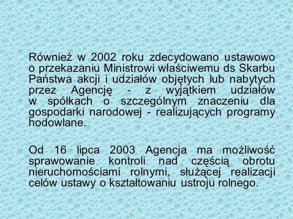 Również w 2002 roku zdecydowano ustawowo o przekazaniu Ministrowi właściwemu ds Skarbu Państwa akcji i udziałów objętych lub nabytych przez Agencję - z wyjątkiem udziałów w spółkach o szczególnym znaczeniu dla gospodarki narodowej - realizujących programy hodowlane.