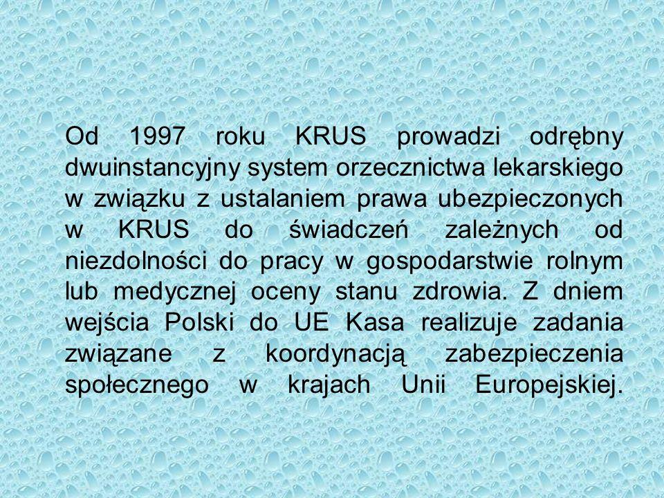 Od 1997 roku KRUS prowadzi odrębny dwuinstancyjny system orzecznictwa lekarskiego w związku z ustalaniem prawa ubezpieczonych w KRUS do świadczeń zależnych od niezdolności do pracy w gospodarstwie rolnym lub medycznej oceny stanu zdrowia.