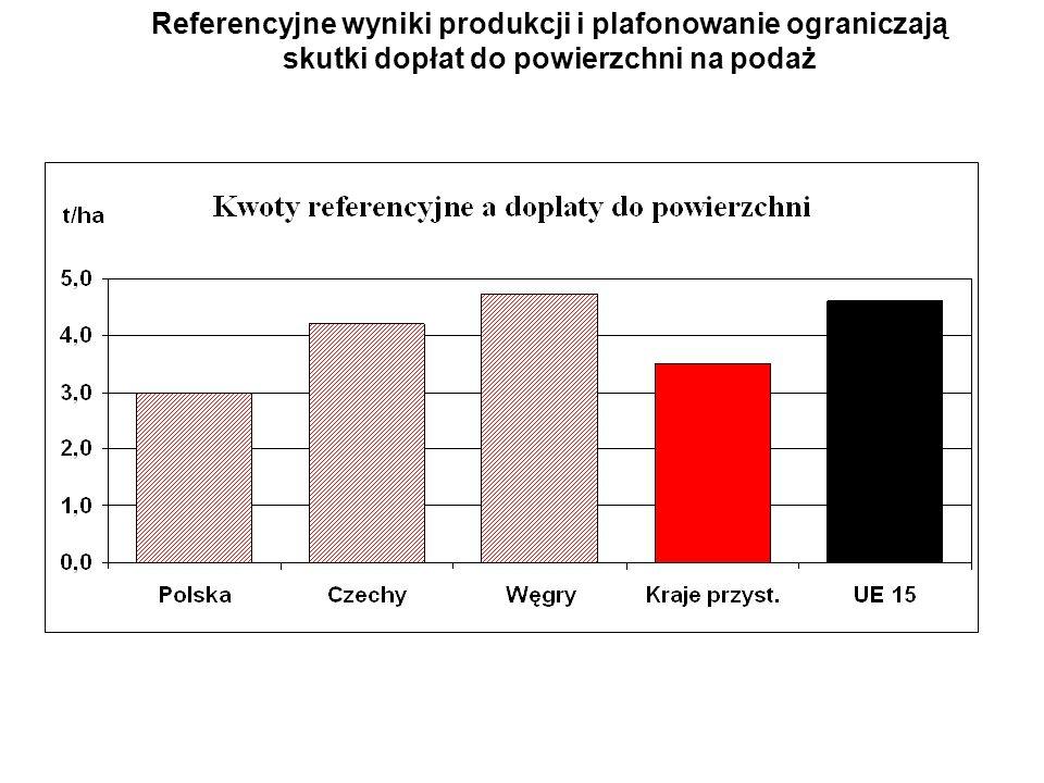 Referencyjne wyniki produkcji i plafonowanie ograniczają skutki dopłat do powierzchni na podaż