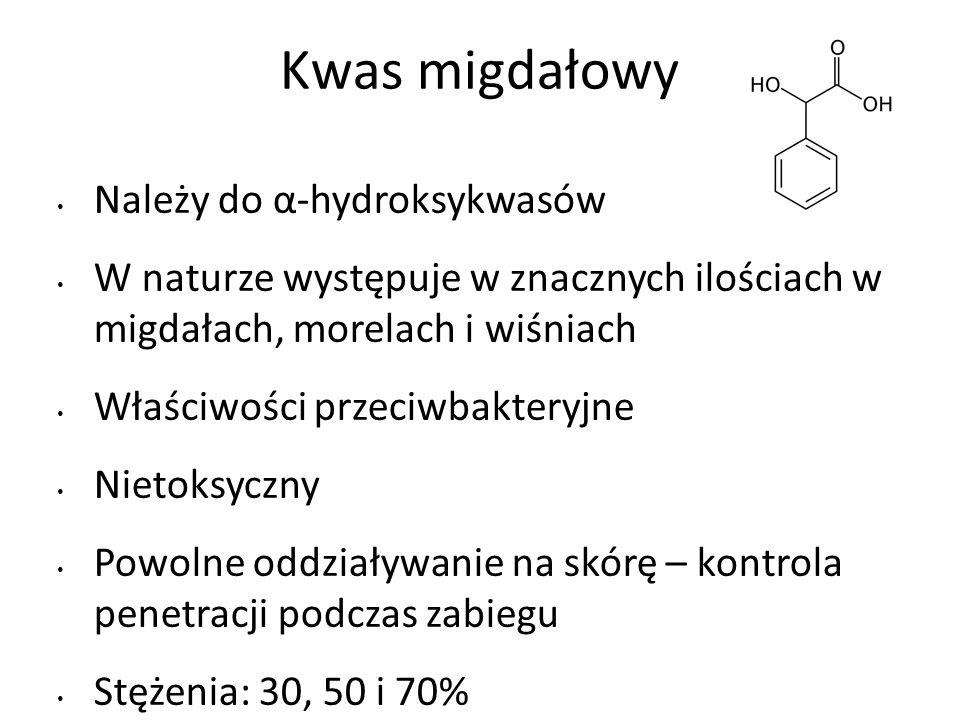 Kwas migdałowy Należy do α-hydroksykwasów W naturze występuje w znacznych ilościach w migdałach, morelach i wiśniach Właściwości przeciwbakteryjne Nietoksyczny Powolne oddziaływanie na skórę – kontrola penetracji podczas zabiegu Stężenia: 30, 50 i 70%