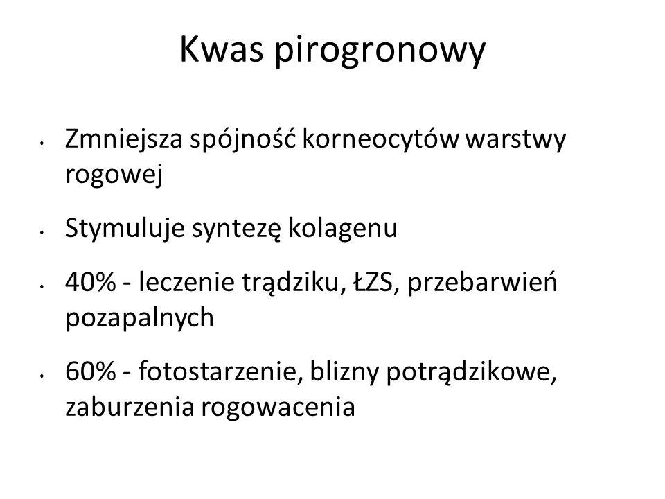Kwas pirogronowy Zmniejsza spójność korneocytów warstwy rogowej Stymuluje syntezę kolagenu 40% - leczenie trądziku, ŁZS, przebarwień pozapalnych 60% - fotostarzenie, blizny potrądzikowe, zaburzenia rogowacenia
