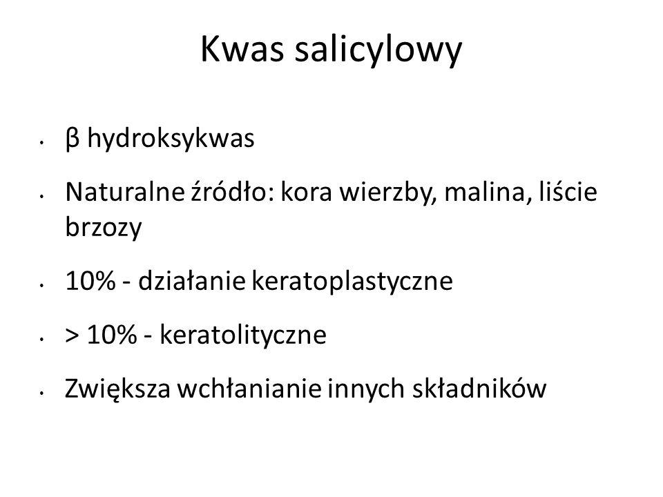Kwas salicylowy β hydroksykwas Naturalne źródło: kora wierzby, malina, liście brzozy 10% - działanie keratoplastyczne > 10% - keratolityczne Zwiększa wchłanianie innych składników
