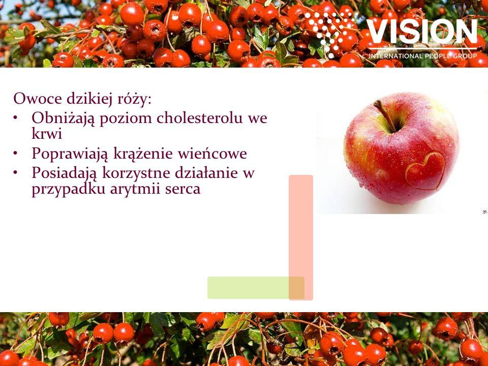 Owoce dzikiej róży: Obniżają poziom cholesterolu we krwi Poprawiają krążenie wieńcowe Posiadają korzystne działanie w przypadku arytmii serca