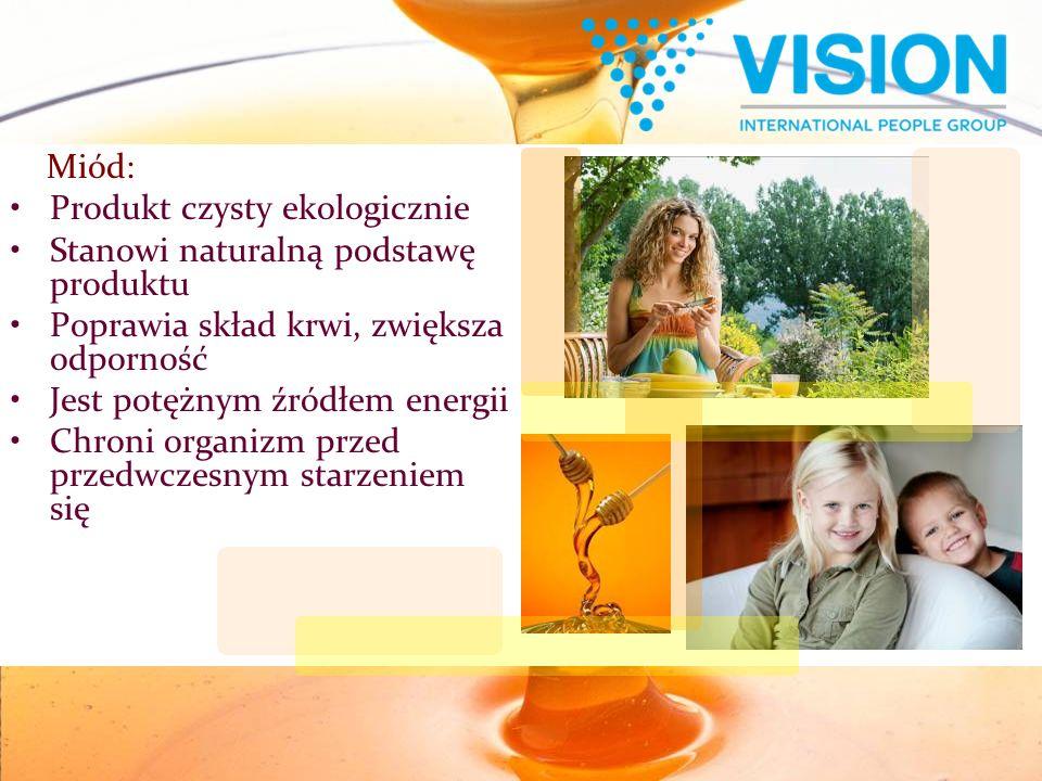 Miód: Produkt czysty ekologicznie Stanowi naturalną podstawę produktu Poprawia skład krwi, zwiększa odporność Jest potężnym źródłem energii Chroni organizm przed przedwczesnym starzeniem się