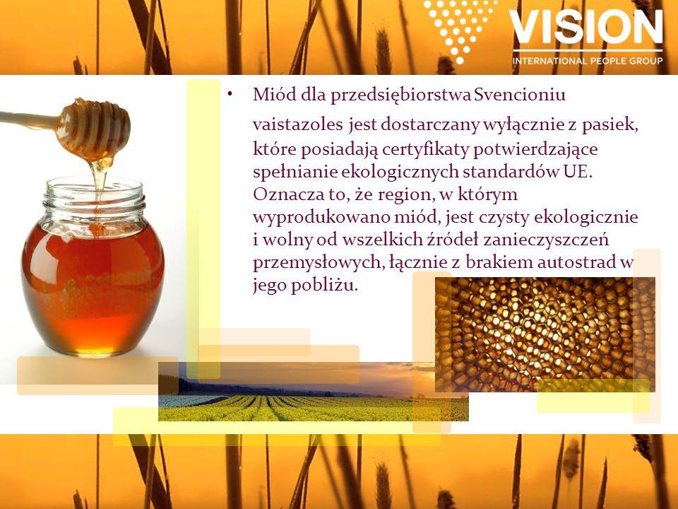 Miód dla przedsiębiorstwa Svencioniu vaistazoles jest dostarczany wyłącznie z pasiek, które posiadają certyfikaty potwierdzające spełnianie ekologicznych standardów UE.