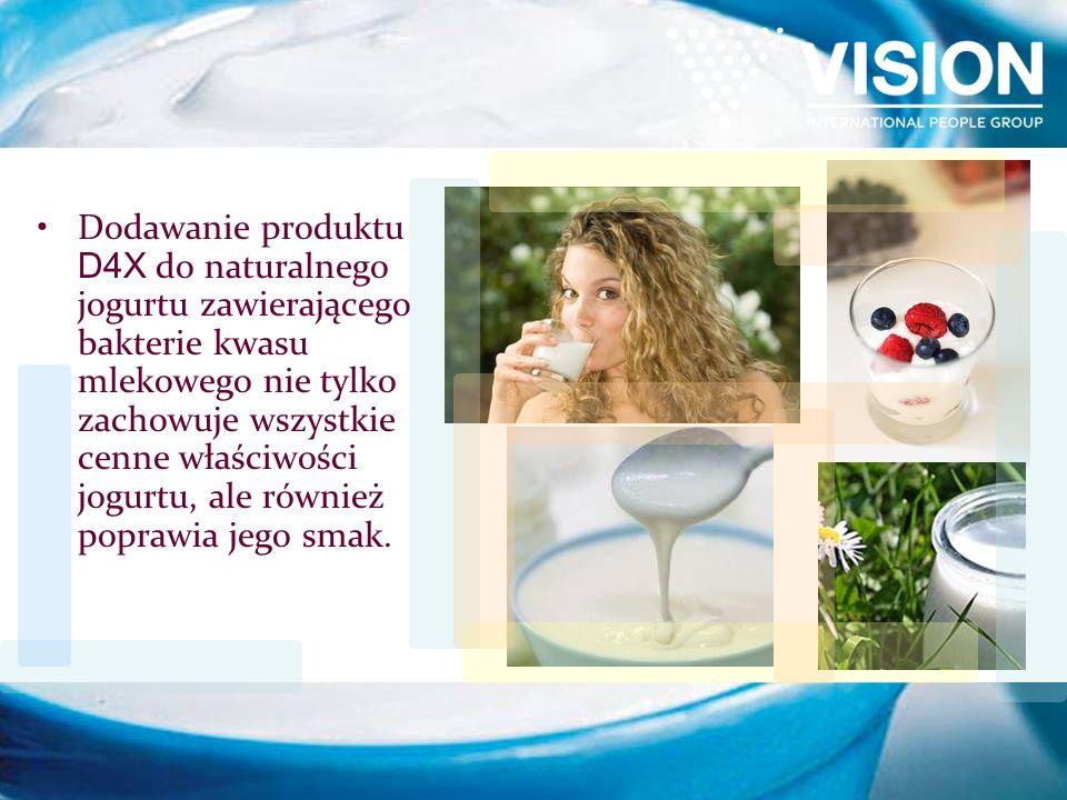 Dodawanie produktu D4X do naturalnego jogurtu zawierającego bakterie kwasu mlekowego nie tylko zachowuje wszystkie cenne właściwości jogurtu, ale również poprawia jego smak.