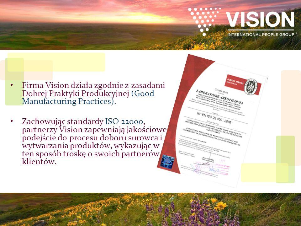 Firma Vision działa zgodnie z zasadami Dobrej Praktyki Produkcyjnej (Good Manufacturing Practices). Zachowując standardy ISO 22000, partnerzy Vision z