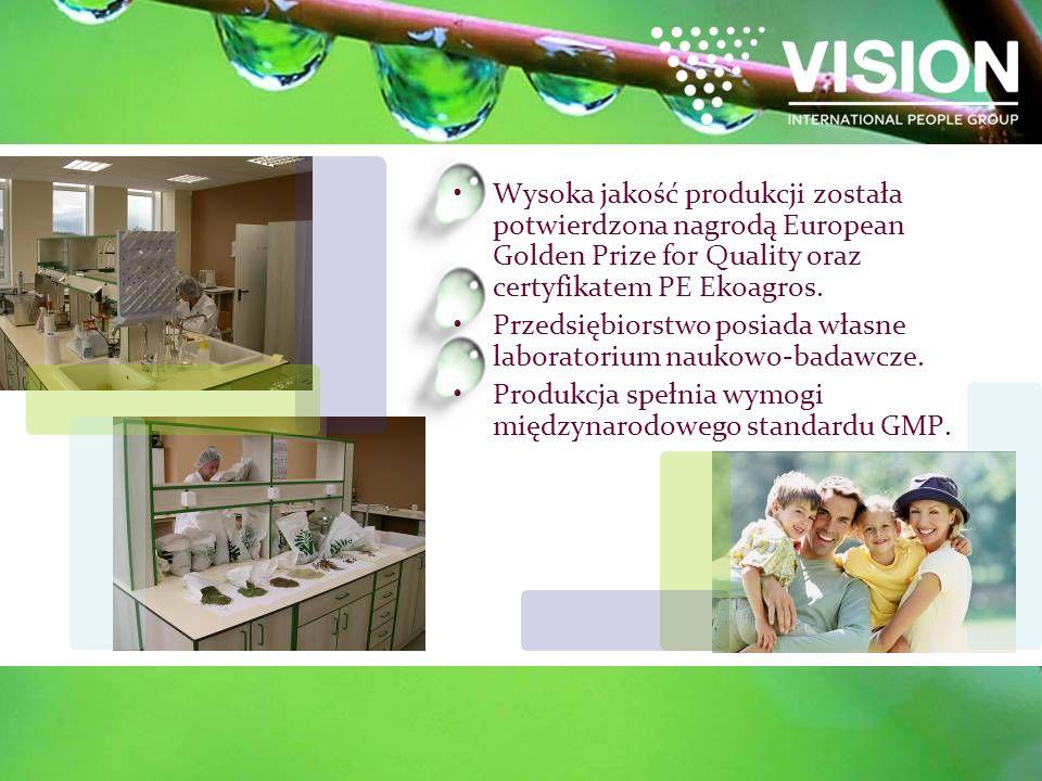 Wysoka jakość produkcji została potwierdzona nagrodą European Golden Prize for Quality oraz certyfikatem PE Ekoagros.