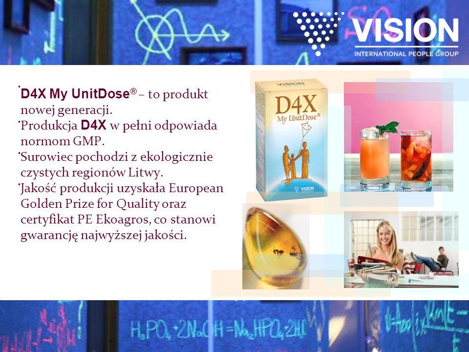 D4X My UnitDose ® – to produkt nowej generacji. Produkcja D4X w pełni odpowiada normom GMP. Surowiec pochodzi z ekologicznie czystych regionów Litwy.
