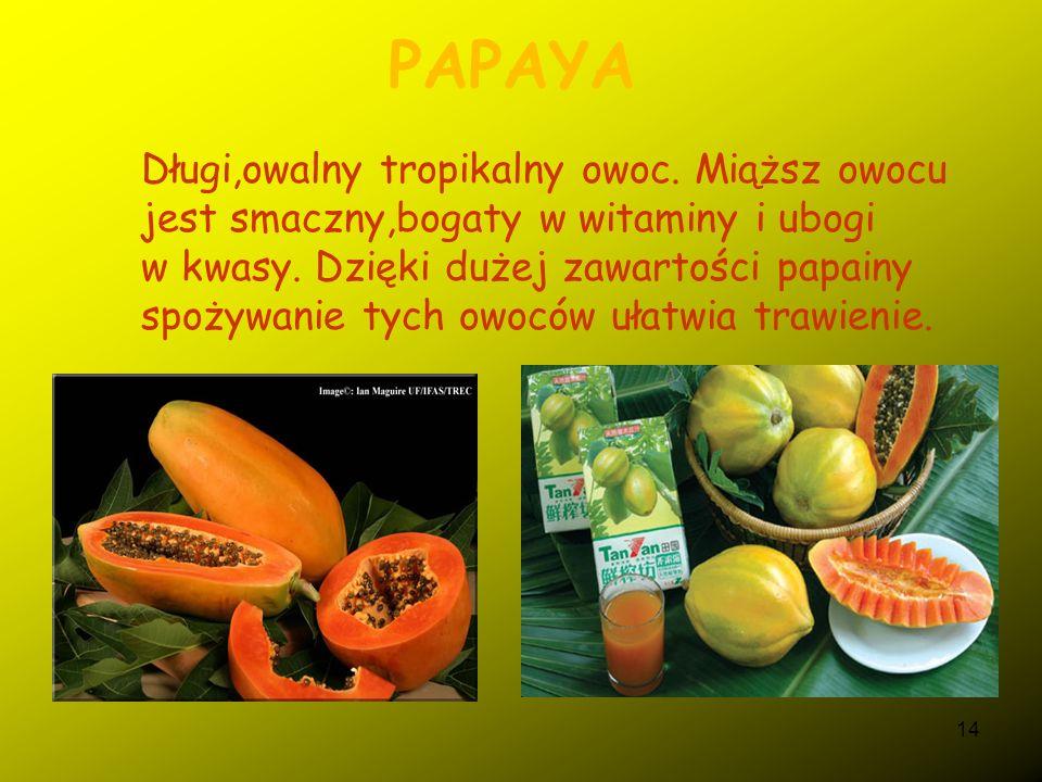 13 MANGOSTAN WŁAŚCIWY Owoce okrągłe, ciemnofioletowe od 4-7 cm, pokryte suchą, grubą, ciemnofioletową skórką.