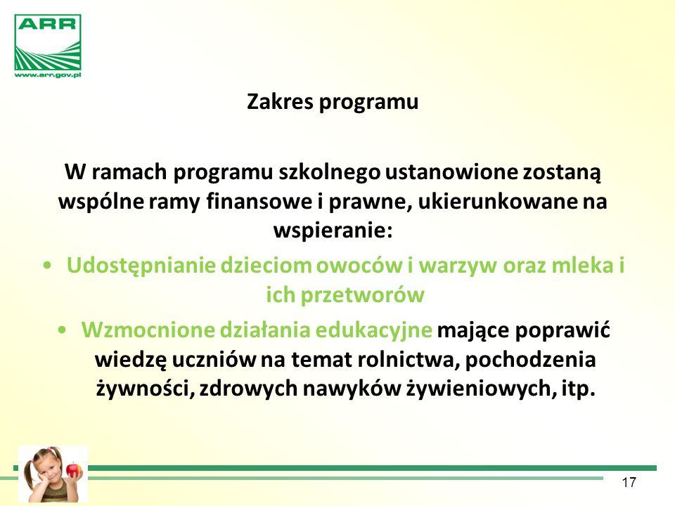 Zakres programu W ramach programu szkolnego ustanowione zostaną wspólne ramy finansowe i prawne, ukierunkowane na wspieranie: Udostępnianie dzieciom o