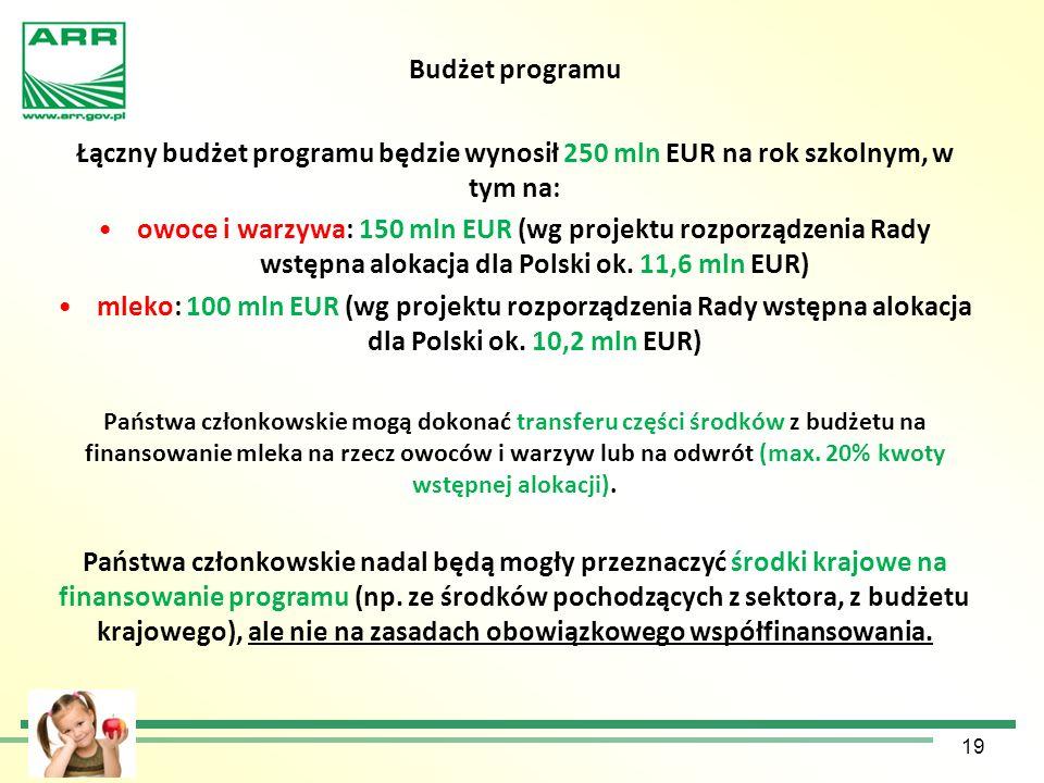 Budżet programu Łączny budżet programu będzie wynosił 250 mln EUR na rok szkolnym, w tym na: owoce i warzywa: 150 mln EUR (wg projektu rozporządzenia