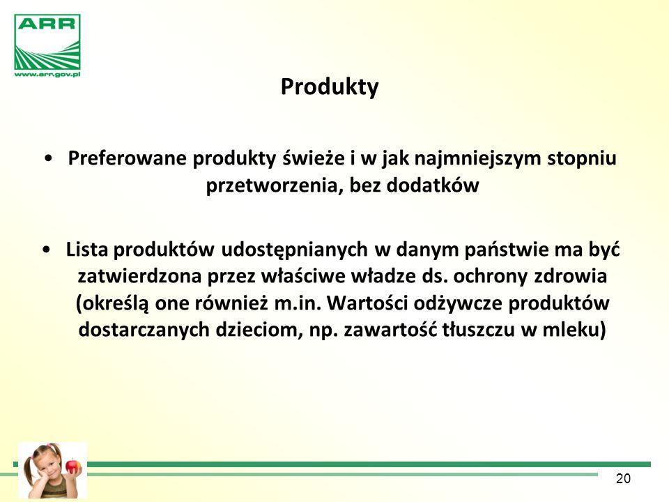 Produkty Preferowane produkty świeże i w jak najmniejszym stopniu przetworzenia, bez dodatków Lista produktów udostępnianych w danym państwie ma być z