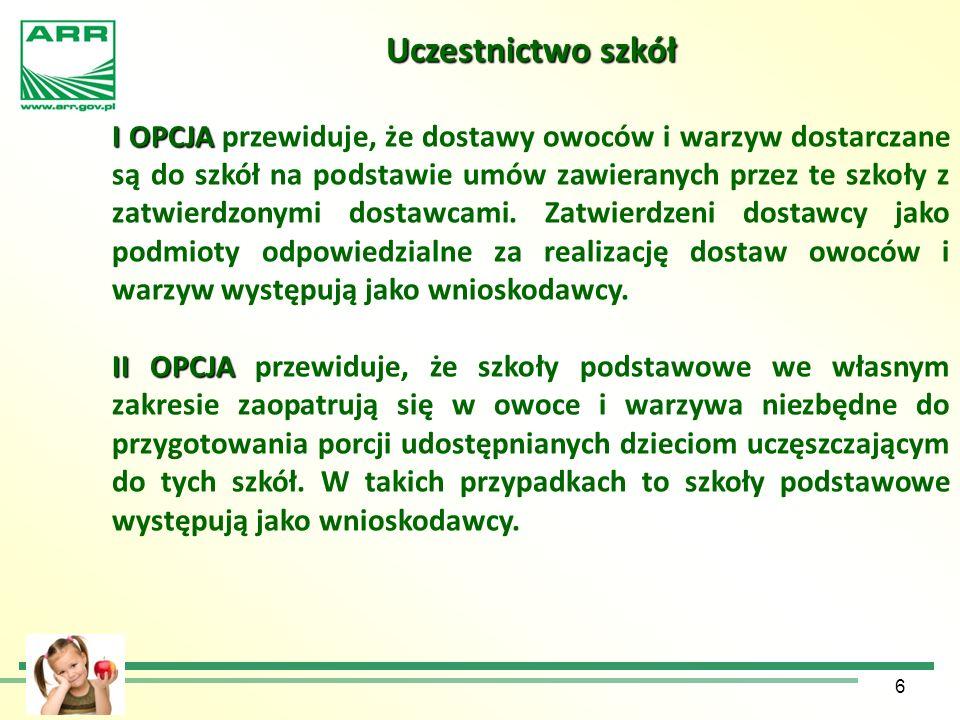 6 Uczestnictwo szkół I OPCJA I OPCJA przewiduje, że dostawy owoców i warzyw dostarczane są do szkół na podstawie umów zawieranych przez te szkoły z za