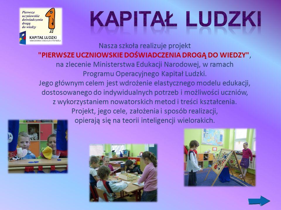 Nasza szkoła realizuje projekt PIERWSZE UCZNIOWSKIE DOŚWIADCZENIA DROGĄ DO WIEDZY , na zlecenie Ministerstwa Edukacji Narodowej, w ramach Programu Operacyjnego Kapitał Ludzki.