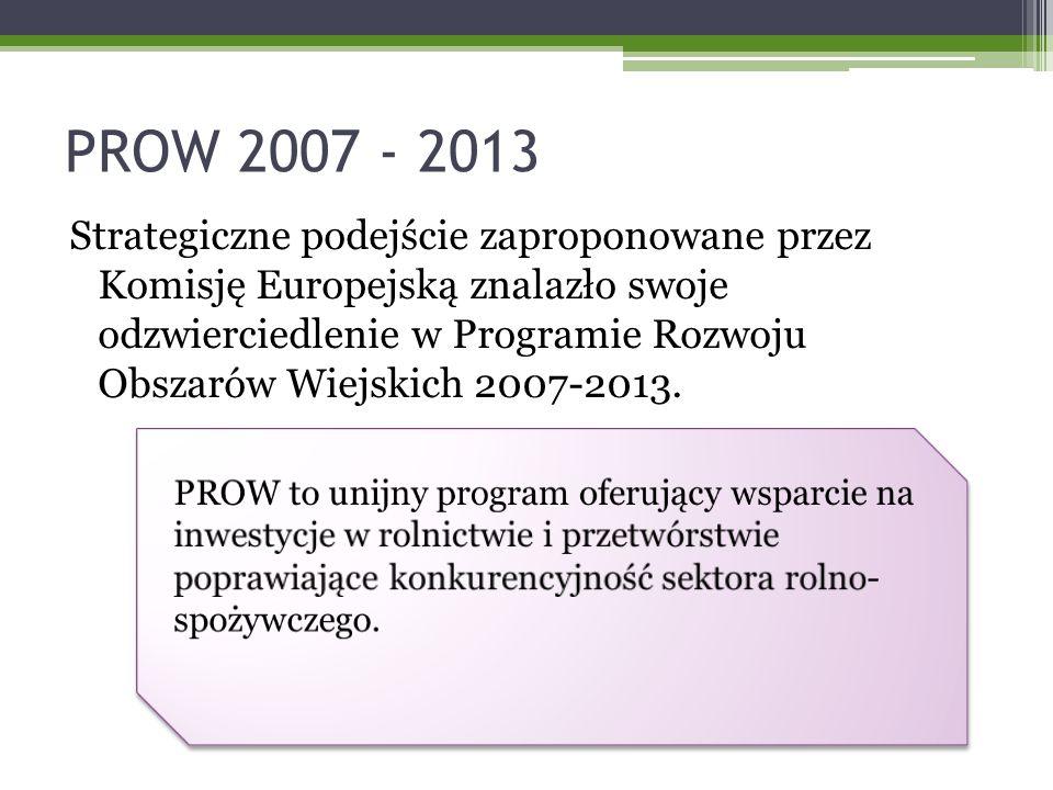 PROW 2007 - 2013 Strategiczne podejście zaproponowane przez Komisję Europejską znalazło swoje odzwierciedlenie w Programie Rozwoju Obszarów Wiejskich 2007-2013.