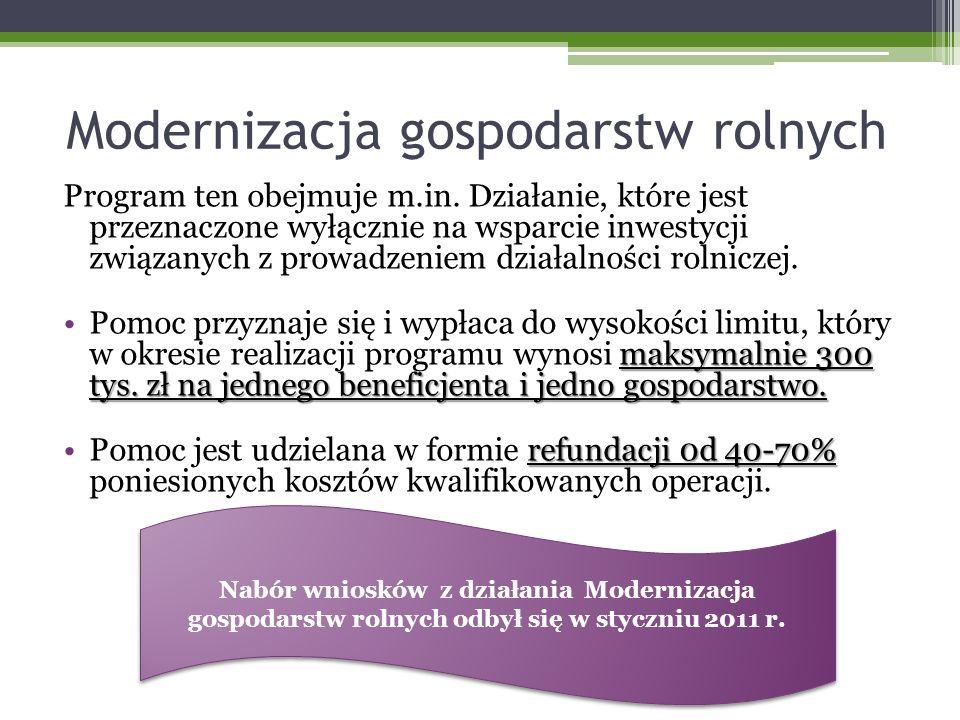 Modernizacja gospodarstw rolnych Program ten obejmuje m.in.