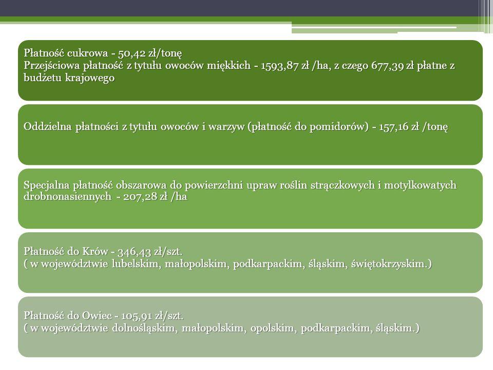 Płatność cukrowa - 50,42 zł/tonę Przejściowa płatność z tytułu owoców miękkich - 1593,87 zł /ha, z czego 677,39 zł płatne z budżetu krajowego Oddzielna płatności z tytułu owoców i warzyw (płatność do pomidorów) - 157,16 zł /tonę Specjalna płatność obszarowa do powierzchni upraw roślin strączkowych i motylkowatych drobnonasiennych - 207,28 zł /ha Płatność do Krów - 346,43 zł/szt.