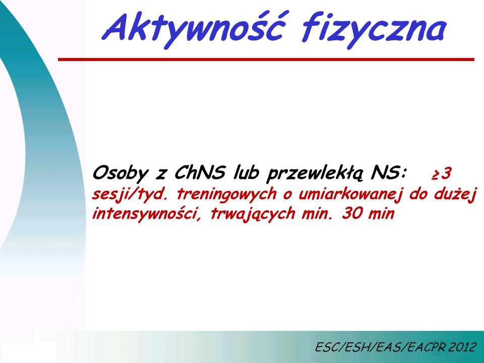 Aktywność fizyczna Osoby z ChNS lub przewlekłą NS: ≥3 sesji/tyd. treningowych o umiarkowanej do dużej intensywności, trwających min. 30 min ESC/ESH/EA