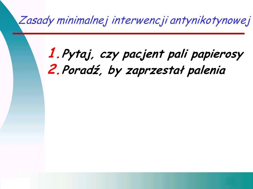 Zasady minimalnej interwencji antynikotynowej 1. Pytaj, czy pacjent pali papierosy 2. Poradź, by zaprzestał palenia
