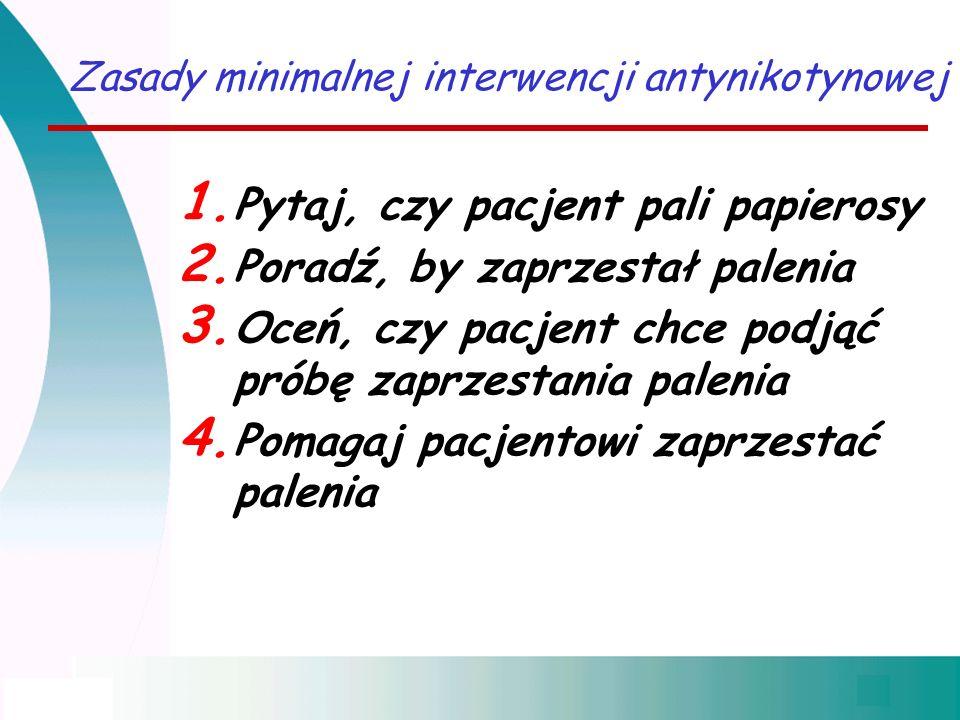Zasady minimalnej interwencji antynikotynowej 1. Pytaj, czy pacjent pali papierosy 2. Poradź, by zaprzestał palenia 3. Oceń, czy pacjent chce podjąć p