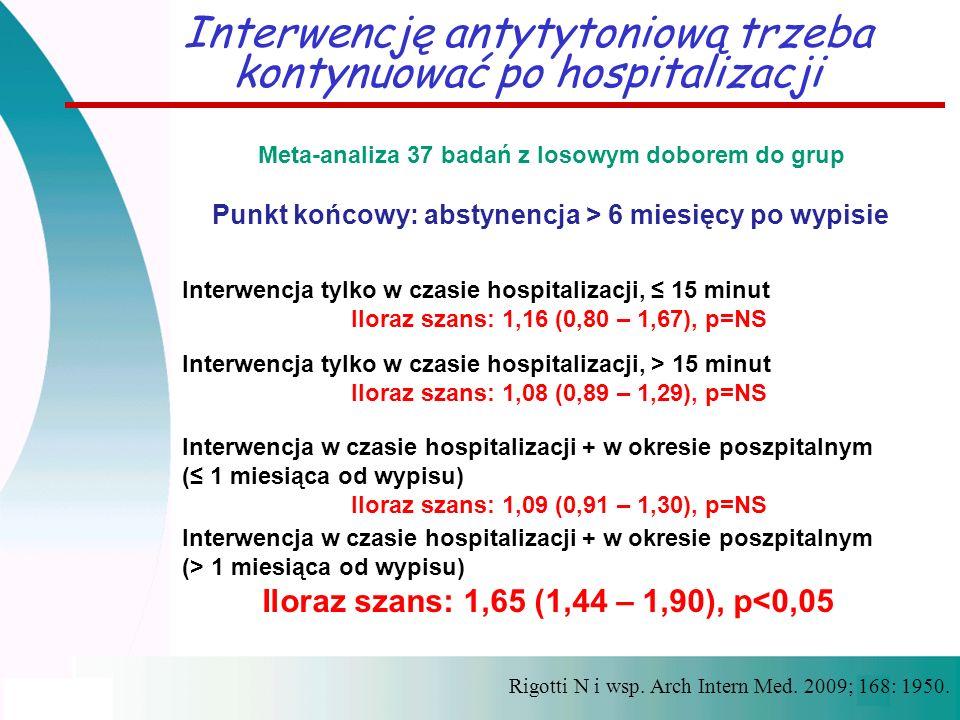 Rigotti N i wsp. Arch Intern Med. 2009; 168: 1950. Interwencję antytytoniową trzeba kontynuować po hospitalizacji Meta-analiza 37 badań z losowym dobo