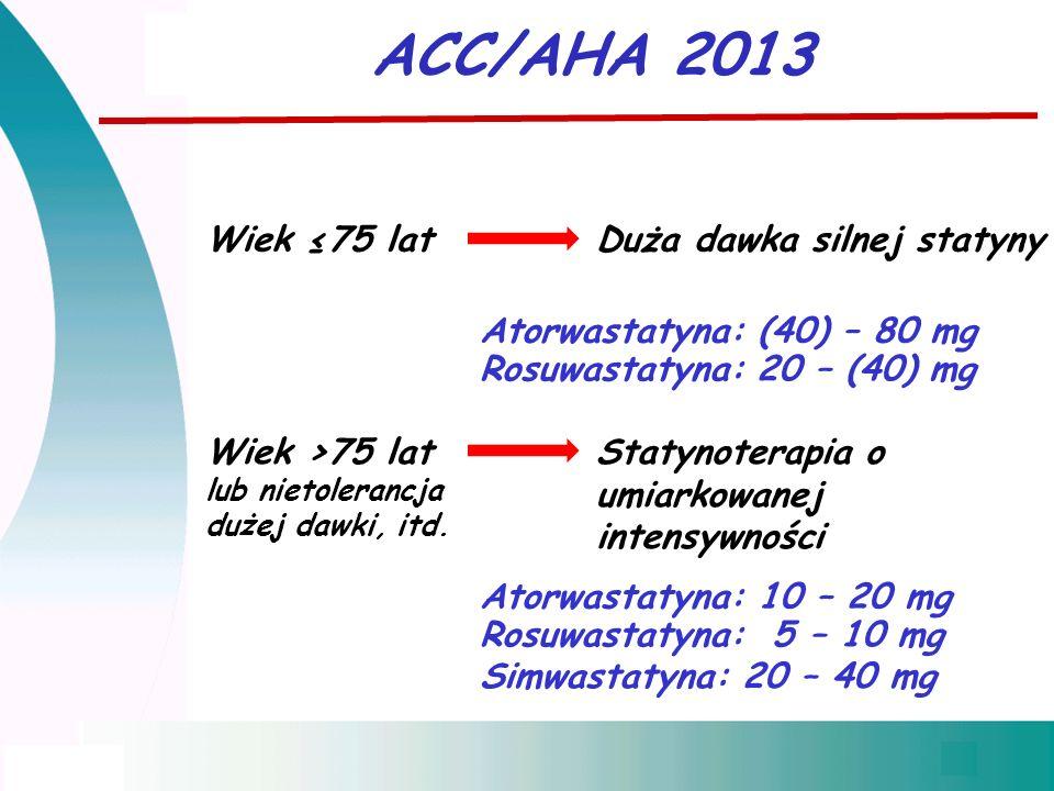 ACC/AHA 2013 Wiek ≤75 latDuża dawka silnej statyny Atorwastatyna: (40) – 80 mg Rosuwastatyna: 20 – (40) mg Wiek >75 latStatynoterapia o umiarkowanej intensywności lub nietolerancja dużej dawki, itd.
