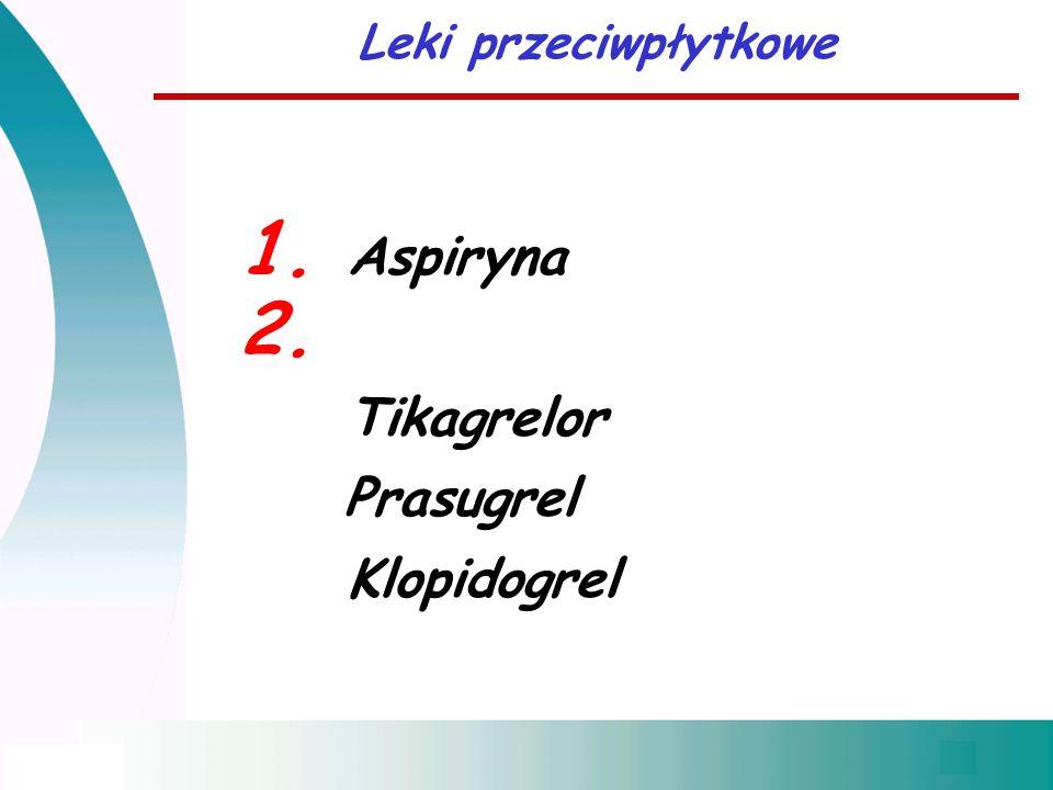 1. Aspiryna 2. Tikagrelor Prasugrel Klopidogrel Leki przeciwpłytkowe