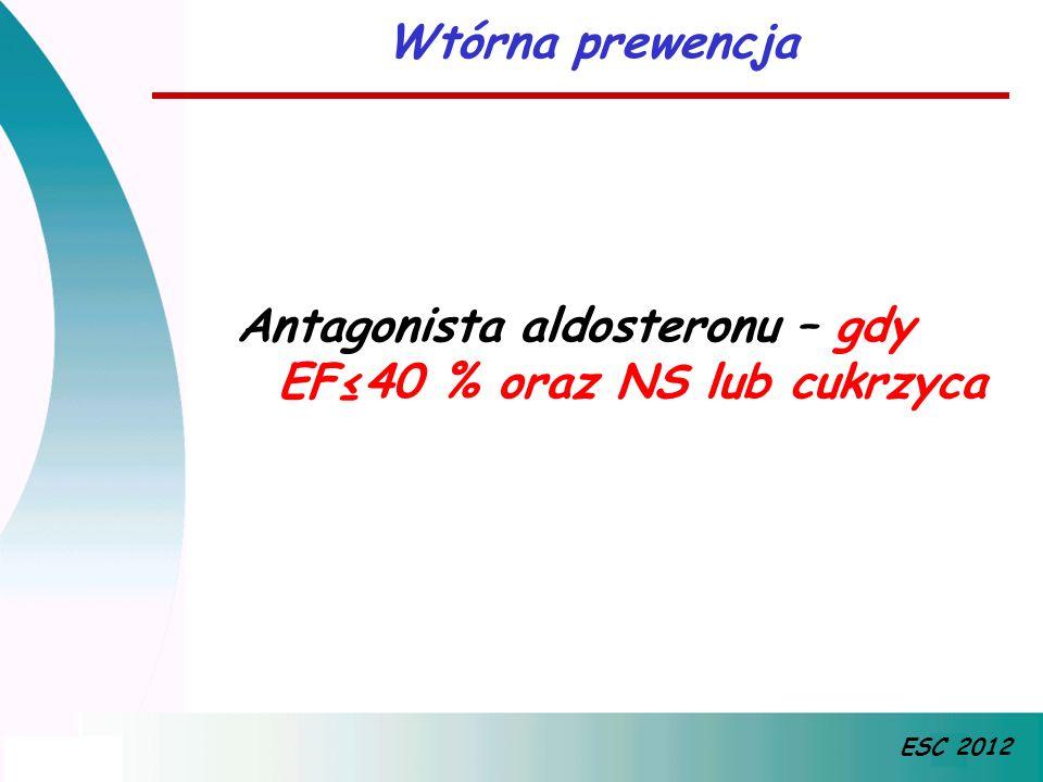 Antagonista aldosteronu – gdy EF≤40 % oraz NS lub cukrzyca Wtórna prewencja ESC 2012