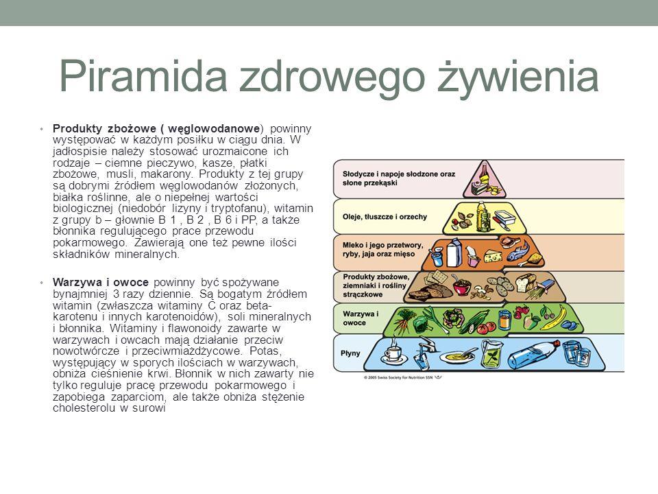 Piramida zdrowego żywienia Produkty zbożowe ( węglowodanowe) powinny występować w każdym posiłku w ciągu dnia. W jadłospisie należy stosować urozmaico