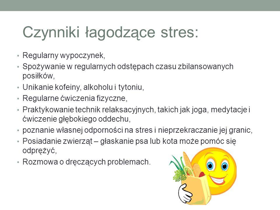 Czynniki łagodzące stres: Regularny wypoczynek, Spożywanie w regularnych odstępach czasu zbilansowanych posiłków, Unikanie kofeiny, alkoholu i tytoniu
