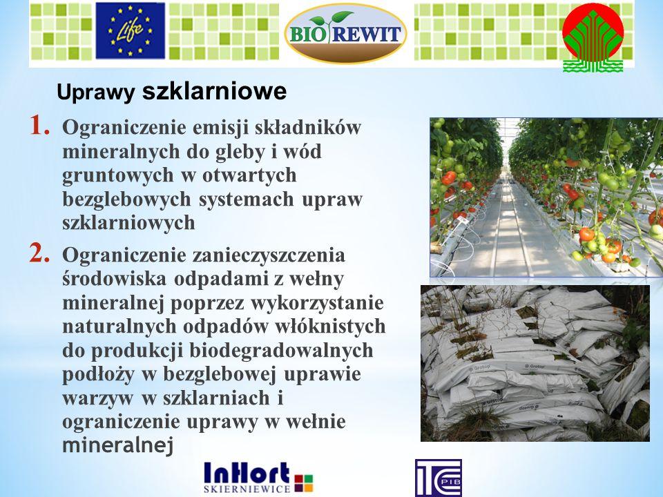 1. Ograniczenie emisji składnikówmineralnych do gleby i wódgruntowych w otwartychbezglebowych systemach uprawszklarniowych 2. Ograniczenie zanieczyszc