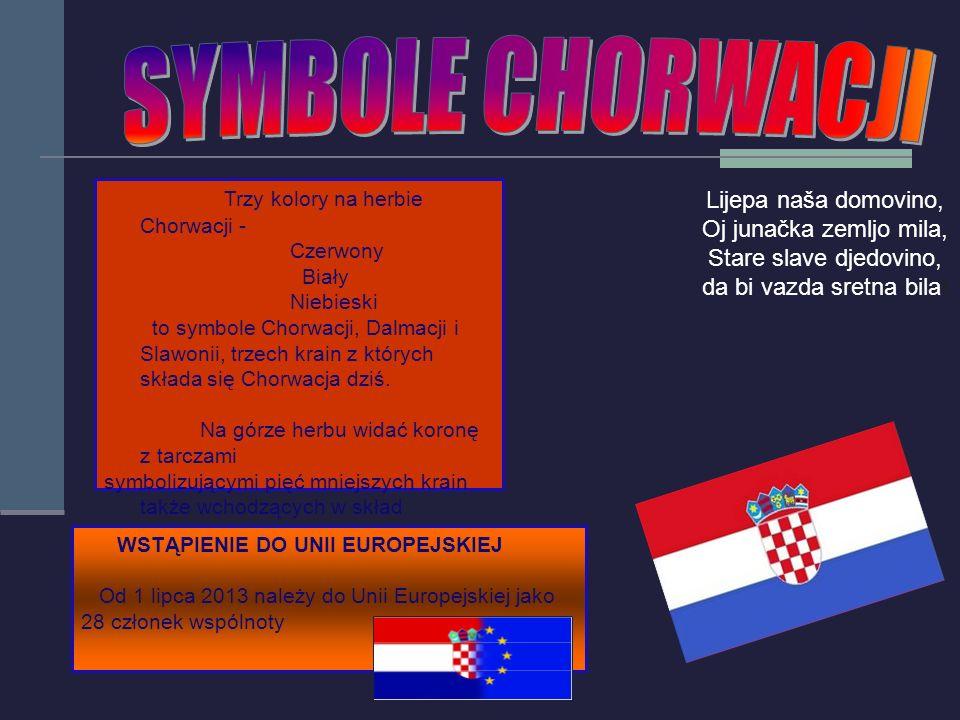 Trzy kolory na herbie Chorwacji - Czerwony Biały Niebieski to symbole Chorwacji, Dalmacji i Slawonii, trzech krain z których składa się Chorwacja dziś.