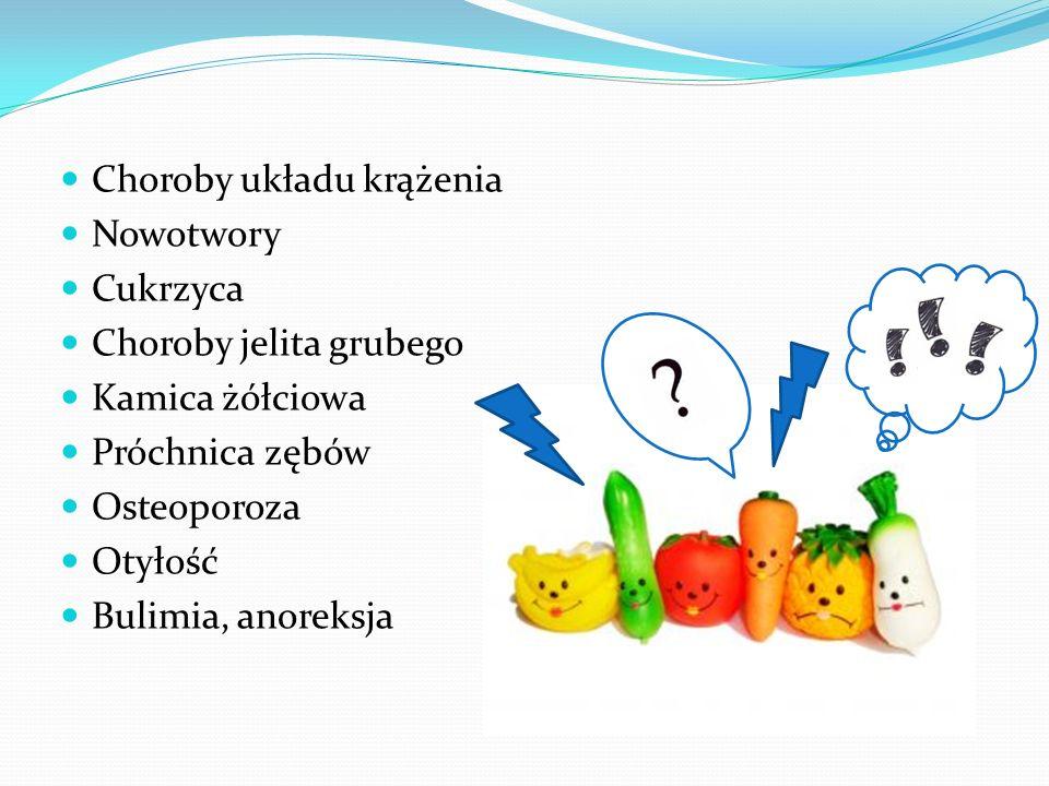 Choroby układu krążenia Nowotwory Cukrzyca Choroby jelita grubego Kamica żółciowa Próchnica zębów Osteoporoza Otyłość Bulimia, anoreksja
