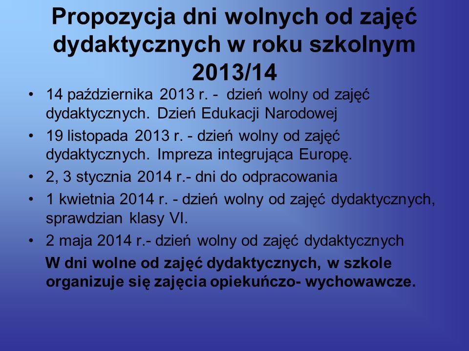 Propozycja dni wolnych od zajęć dydaktycznych w roku szkolnym 2013/14 14 października 2013 r.