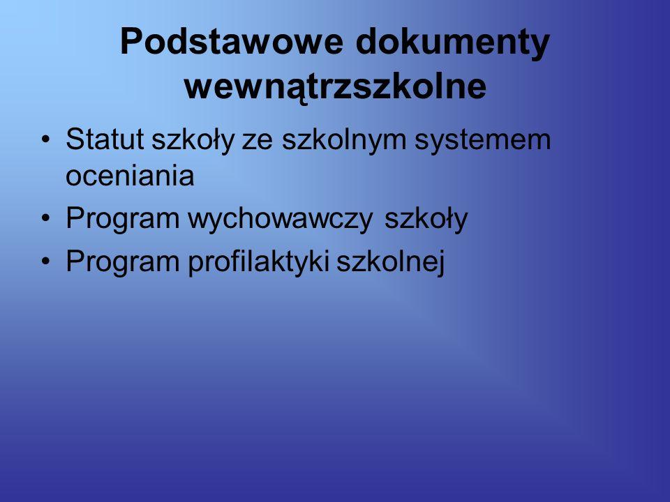 Podstawowe dokumenty wewnątrzszkolne Statut szkoły ze szkolnym systemem oceniania Program wychowawczy szkoły Program profilaktyki szkolnej