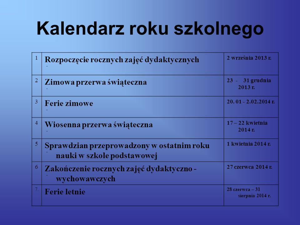 Kalendarz roku szkolnego 1.1. Rozpoczęcie rocznych zajęć dydaktycznych 2 września 2013 r.