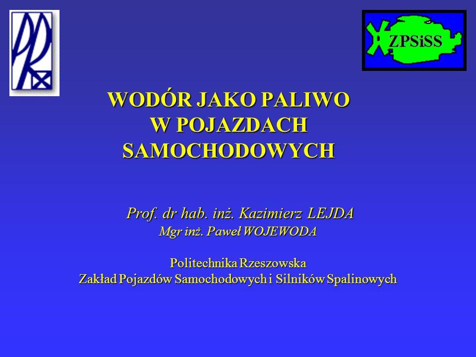WODÓR JAKO PALIWO W POJAZDACH SAMOCHODOWYCH Prof. dr hab.