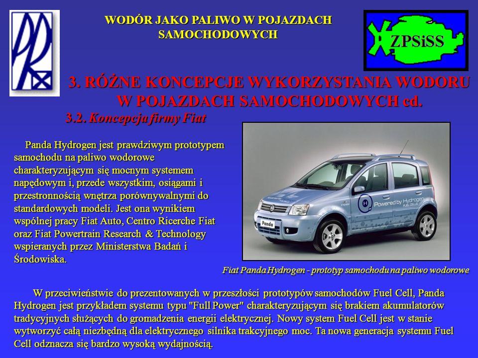 WODÓR JAKO PALIWO W POJAZDACH SAMOCHODOWYCH 3.2. Koncepcja firmy Fiat Panda Hydrogen jest prawdziwym prototypem samochodu na paliwo wodorowe charakter
