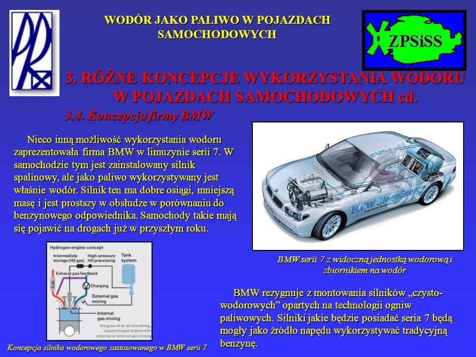 WODÓR JAKO PALIWO W POJAZDACH SAMOCHODOWYCH 3.4. Koncepcja firmy BMW Nieco inną możliwość wykorzystania wodoru zaprezentowała firma BMW w limuzynie se