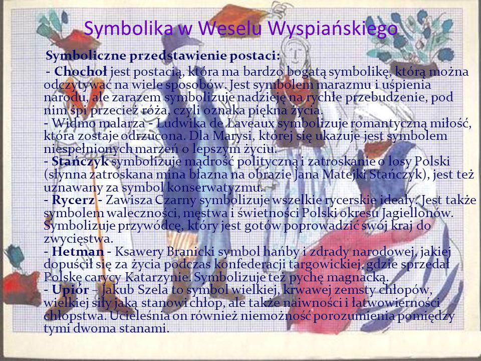 Symbolika w Weselu Wyspiańskiego Symboliczne przedstawienie postaci: - Chochoł jest postacią, która ma bardzo bogatą symbolikę, którą można odczytywać na wiele sposobów.