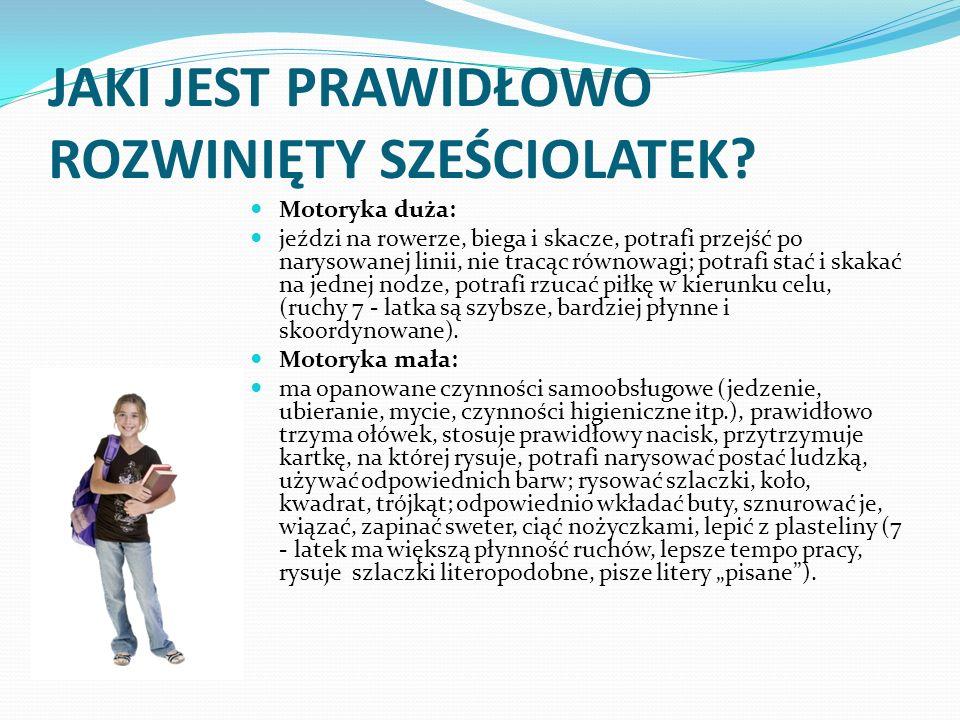 Rozwój psychiczny: Uwaga: dominuje uwaga mimowolna, czas skupiania około 15 - 20 minut na czynnościach niezbyt interesujących, dziecko bardzo łatwo rozprasza się, dość szybko męczy się, skupiając uwagę (u 7 - latka: dłuższe skupienie uwagi, większa odporność na zmęczenie!) Pamięć: początki pamięci dowolnej, ale dominuje mimowolna.
