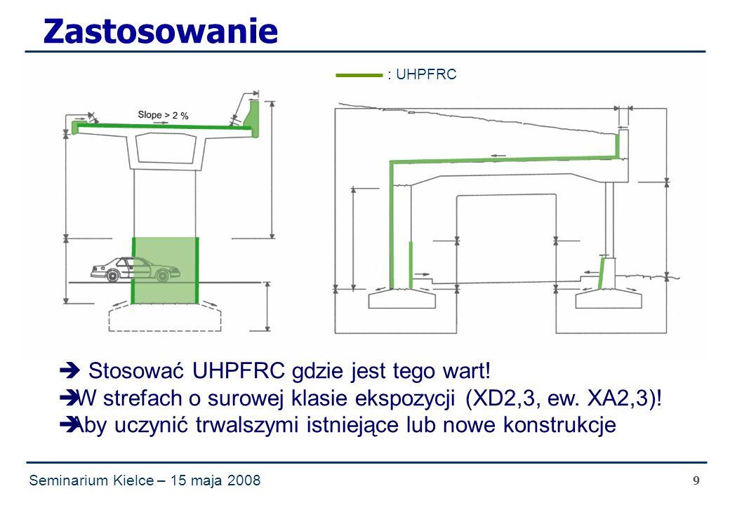 Seminarium Kielce – 15 maja 2008 9 Zastosowanie : UHPFRC  Stosować UHPFRC gdzie jest tego wart.