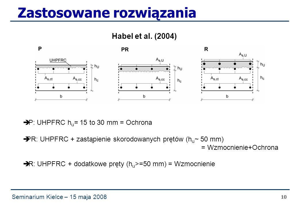 Seminarium Kielce – 15 maja 2008 10 Zastosowane rozwiązania  P: UHPFRC h u = 15 to 30 mm = Ochrona  PR: UHPFRC + zastąpienie skorodowanych prętów (h u ~ 50 mm) = Wzmocnienie+Ochrona  R: UHPFRC + dodatkowe pręty (h u >=50 mm) = Wzmocnienie Habel et al.