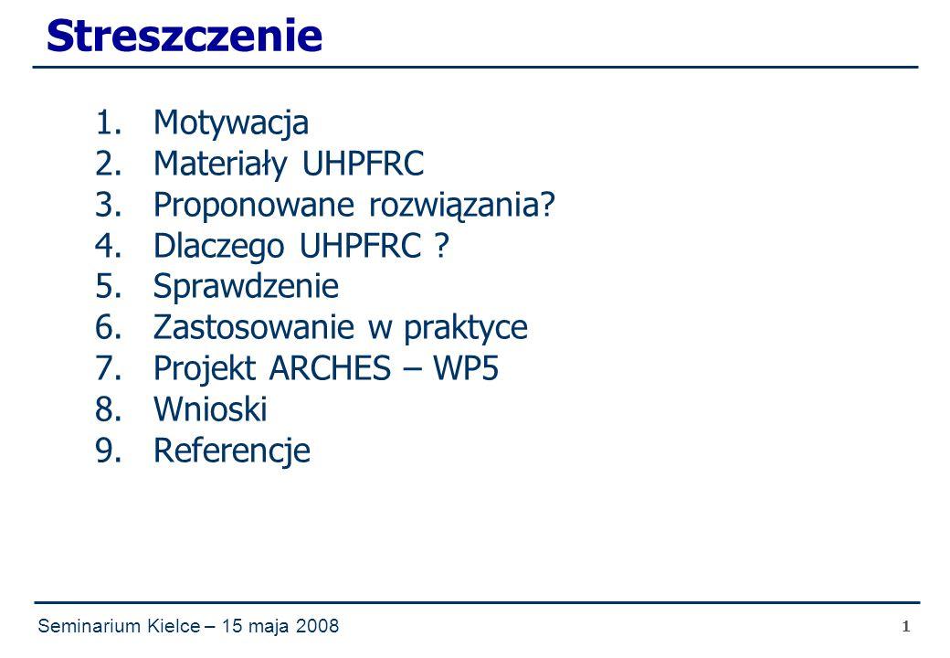 Seminarium Kielce – 15 maja 2008 1 Streszczenie 1.Motywacja 2.Materiały UHPFRC 3.Proponowane rozwiązania.