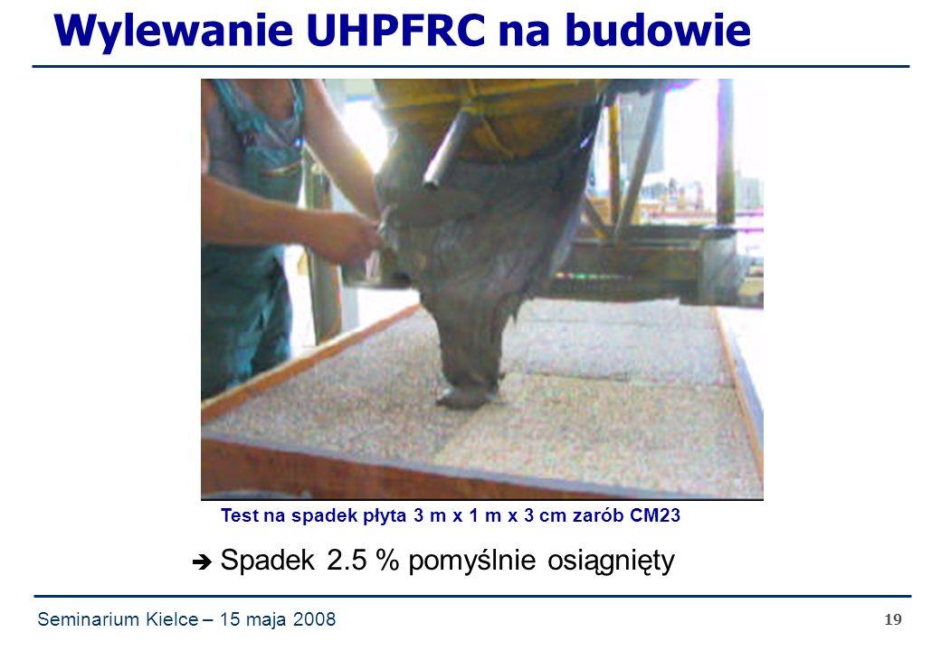 Seminarium Kielce – 15 maja 2008 19 Wylewanie UHPFRC na budowie  Spadek 2.5 % pomyślnie osiągnięty Test na spadek płyta 3 m x 1 m x 3 cm zarób CM23
