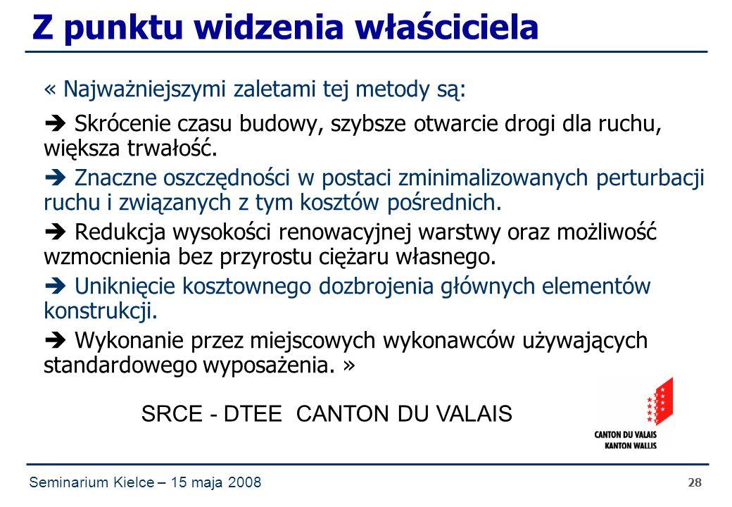 Seminarium Kielce – 15 maja 2008 28 Z punktu widzenia właściciela « Najważniejszymi zaletami tej metody są:  Skrócenie czasu budowy, szybsze otwarcie drogi dla ruchu, większa trwałość.