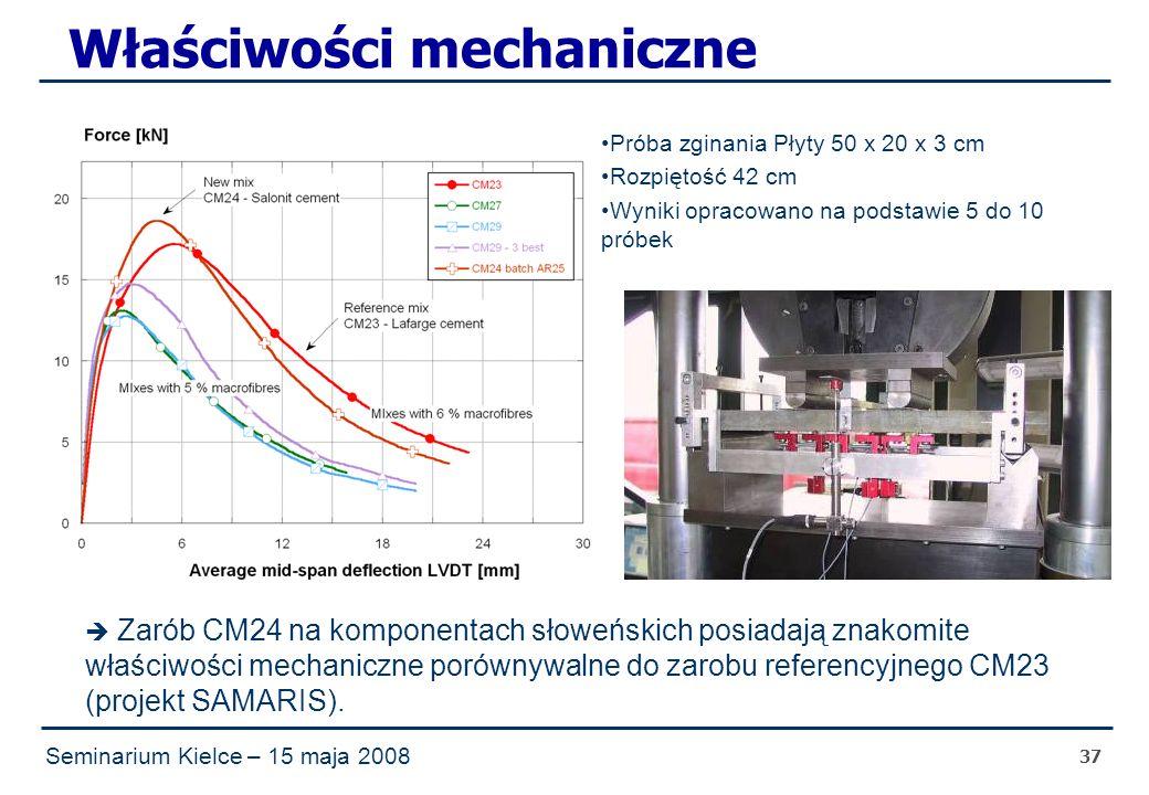 Seminarium Kielce – 15 maja 2008 37 Właściwości mechaniczne  Zarób CM24 na komponentach słoweńskich posiadają znakomite właściwości mechaniczne porównywalne do zarobu referencyjnego CM23 (projekt SAMARIS).