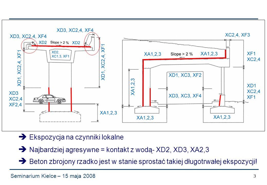 Seminarium Kielce – 15 maja 2008 3  Ekspozycja na czynniki lokalne  Najbardziej agresywne = kontakt z wodą- XD2, XD3, XA2,3  Beton zbrojony rzadko jest w stanie sprostać takiej długotrwałej ekspozycji!